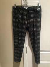 NWT New York & Company Slim Stretch Trouser Pants Black/White Women's Size 0