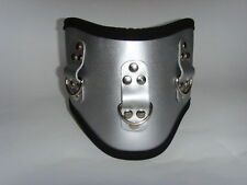 Silver Leather POSTURE COLLAR with 3 rings Collar Posture, Unisex Adjustable UK!