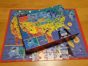 Vintage Golden 100 Piece Jigsaw Puzzle Picture Map of The United States 1989