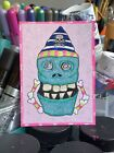ACEO Original Design Skull Skeleton Pink Painting By Artist Art Cute Home Decor