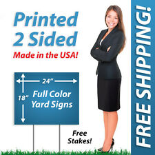 100 - 18x24 Yard Signs & Political FULL COLOR! Corrugated Plastic + FREE Stakes