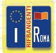 ADESIVI BLU RIFRANGENTE PER TARGA AUTO EUROPEA CON BANDIERA E PROVINCIA ROMA