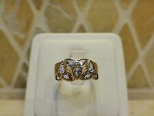 14k yellow white gold iolite diamond ring 3 tri flower cluster wide band 6.75