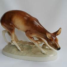 Royal Dux Bohemia Tier Figur Reh Rehkitz signiert  Wanka 30cm breit TOP