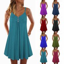 Womens Summer Sleeveless T Shirt Dress Casual Loose A Line Tunic Beach Sundress