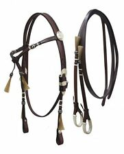 SHOWMAN WESTERN FUTURITY KNOT BRIDLE HEADSTALL W/ REINS & HORSE HAIR TASSELS