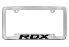 Acura RDX Logo Bottom Engraved Chrome Plated Metal License Plate Frame Four Hole