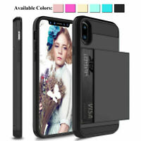 For iPhone 11 Pro Max/XR/X Hybrid Shockproof Case With Wallet Credit Card Holder