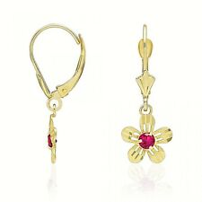 14k Yellow Gold Ruby Birthstone Diamond Cut Flower Dangle Leverback Earrings