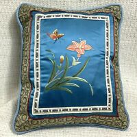 Vintage Chinese Embroidery Cushion Small Pillow Blue Silk Butterfly Oriental