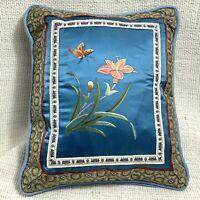 Vintage Cinese Ricamo Cuscino Piccolo Cuscino Blu Seta Farfalla Orientale