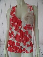 DELETTA ANTHROPOLOGIE Top S Pullover Knit Cotton Tank Red Pink Yellow Floral HOT