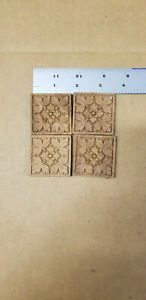 "Lot (4) Wood Furniture Trim Pieces Rosettes Square 1.75"" Oak Leaf Cherry ?"