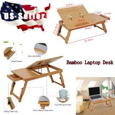 Portable Folding Dormitory Bed Lap Desk Bamboo Laptop Breakfast Tray Table Stand