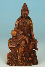 Japan Edo Period handcarved Kwan Yin in Buxus wood - Excellent condition - 19thC