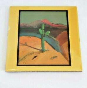 """Mid Century Downe Burns """"Late for the Sky"""" Ceramic Art Tile Santa Fe Collection"""