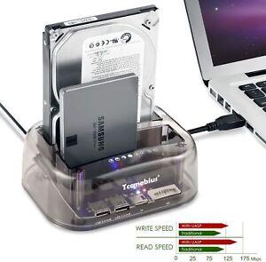 "USB 3.0 to SATA Dual Bay External Hard Drive Docking Station 2.5"" & 3.5"" SD TF"