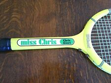Vintage Wilson Miss Chris Evert Tennis Racket Strata Bow Racquet Wooden 1970's