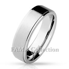 FAMA Stainless Steel Classic Band Ring w/ Step Edges & Brushed Finish Center NEW