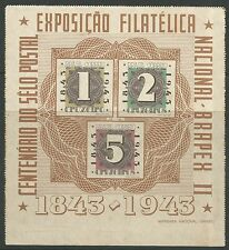 BRAZIL. 1943. Stamp Centenary (Air) Miniature Sheet. SG: MS685a. Unused.