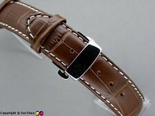 WATCH Strap Croco Farfalla Fibbia Marrone Scuro / Bianco 24mm