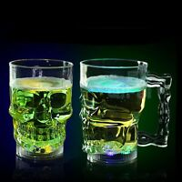 New LED Skull Cup Bar Pub Beer Wine Drink Mug Barware Water Activated