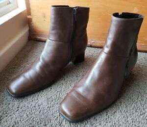 GABOR Brown Leather Ankle Boots Size 38.5 Or 8 EUC