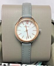 Fossil Womens Watch Mother of Pearl Gray Leather Band BQ3135 Rose Gold NWT
