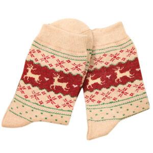 Women Christmas Deer Moose Design Socks Casual Warm Winter Knit Wool Socks SH