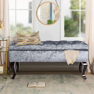 Velvet Window Seat Ottoman Storage Bench Bed End Sofa Footstools Pouffe Bedroom