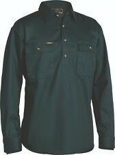 BISLEY Closed Front Cotton Drill Shirt - Long Sleeve Blue Size 5XL BSC6433