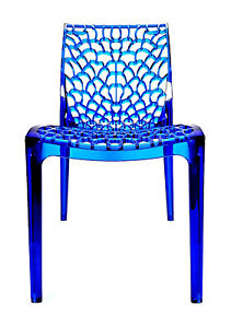 Grand Soleil Gruvyer Stackable Transparent Blue Chair Italy Designer Lucite