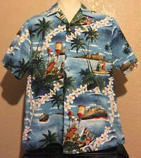 e4491431 RJC Men's Sz XL Cotton Blue Floral SS Monterey Ship Hula Girl Hawaiian Shirt  USA
