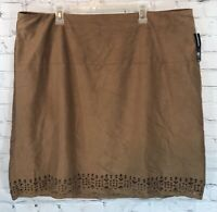 New Directions Women's Size 2X Brown Faux Suede Skirt NWT Fall Winter Career