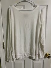 Peace Love World Long Sleeve Comfy Knit Scoop Neck Top-White-XL-NEW-A288631