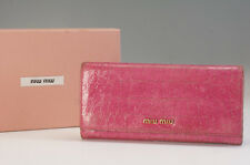 Authentic miu miu Women's Bi-Fold Long Wallet Pink Embossed w/box F/S 941f29