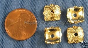 12pc Gold Plated Square Dome Textured Spacer Beads 5784