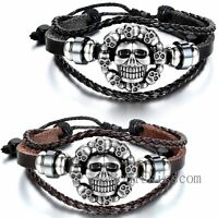Wristband  Fashion Cool Genuine Leather Bracelet Men Skull Bracelets Cuff Bangle