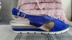BRAND NEW  VAN DAL  UK 8 EXTRA WIDE FIT ,COLBALT PURPLE  LEATHER WEDGE SANDALS
