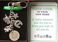 New Home Keyring with Sixpence Good Luck Gift Boxed