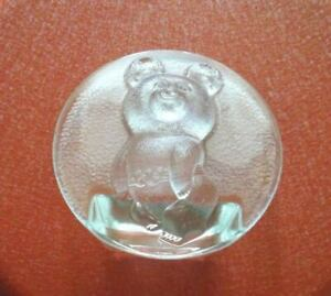 1980 XII OLYMPIC GAMES MOSCOW USSR GLASS Figurine Russian Bear Mascot MISHA RARE