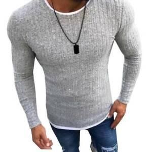 Men Knit Sweater Slim Fit Long Sleeve Pullover Jumper Muscle Winter Knitwear Top