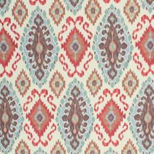 Linen Viscose Rangoda Fabric Ikat Pattern Brown Red Blue Upholstery Drapery IL10