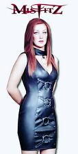 MISFITZ BLACK LEATHER LOOK BARBARELLA  DRESS SIZES 8-32/ MADE TO MEASURE