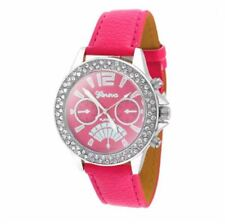 DOOKA  Geneva Numeral Faux Leather Quartz Crystal Stone Wrist Watch PINK/SILVER
