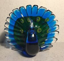 Murano ART-GLASS PEACOCK Bird Sculpture Cobalt Blue Nice!