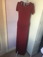 Women's Cap Sleeve Stretch Plain Thigh Split Maxi Bodycon Dress. Size 10.