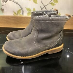 Clarks Comet Frost Grey Leather Boots Size 11.5G Girls