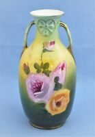 ANTIQUE GERMANY HAND PAINTED VASE GREEN FLORAL