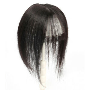 Long Straight Neat Fringe  Bangs Hair Topper Clip in 100% Human Hair Top Piece